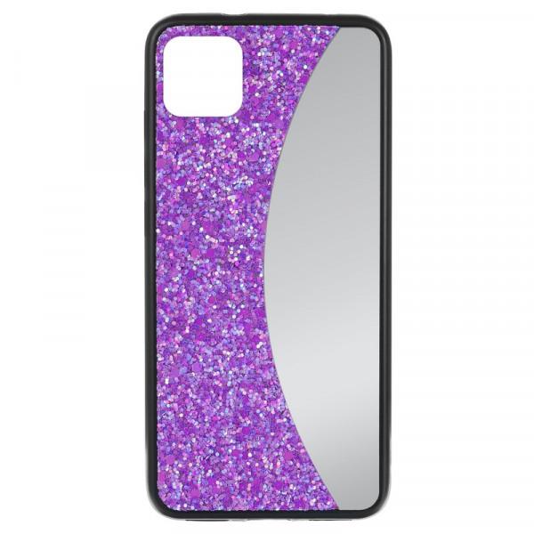 """iPhone 11 Pro Max (6.5"""") Бампер силиконовый блёстки+зеркало, фиолетовый"""