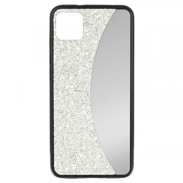 """iPhone 11 Pro (5.8"""") Бампер силиконовый блёстки+зеркало, белый"""
