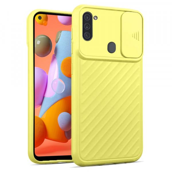 Samsung A11 Бампер силиконовый ребристый с защитой камеры (раздвижное окно), жёлтый