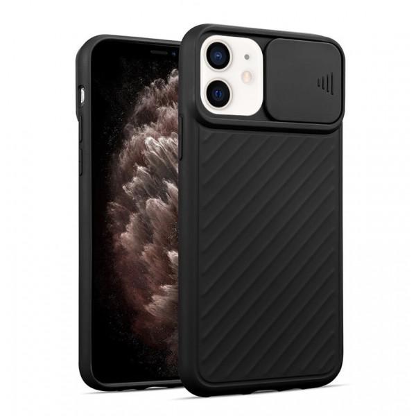 """iPhone 12 (5.4"""") Бампер силиконовый ребристый с защитой камеры (раздвижное окно), чёрный"""