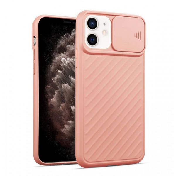 """iPhone 12 (5.4"""") Бампер силиконовый ребристый с защитой камеры (раздвижное окно), розовый"""
