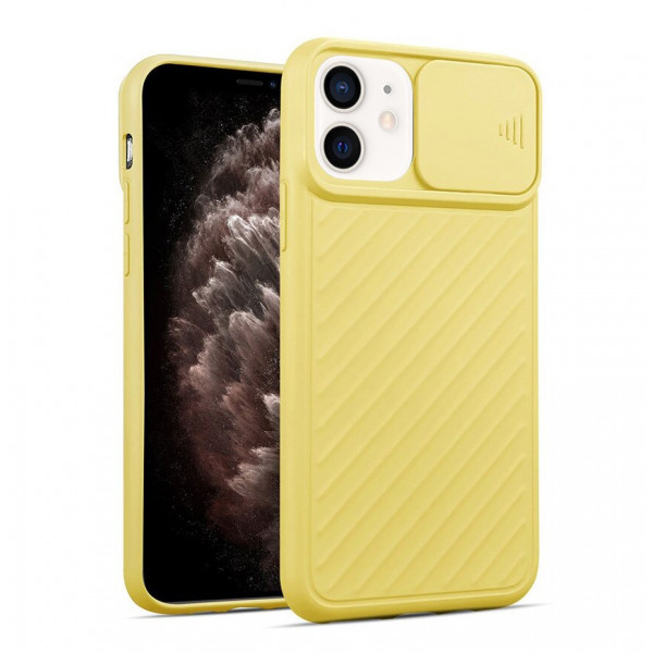 """iPhone 12 (5.4"""") Бампер силиконовый ребристый с защитой камеры (раздвижное окно), жёлтый"""
