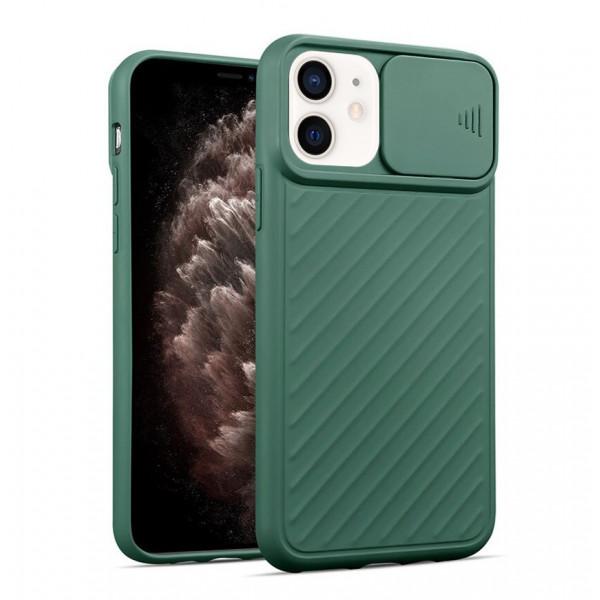 """iPhone 12 (5.4"""") Бампер силиконовый ребристый с защитой камеры (раздвижное окно), хаки"""