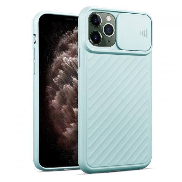 """iPhone 12 (6.1"""") Бампер силиконовый ребристый с защитой камеры (раздвижное окно), бирюзовый"""