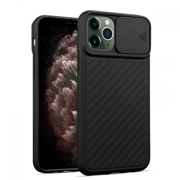 """iPhone 12 (6.7"""") Бампер силиконовый ребристый с защитой камеры (раздвижное окно), чёрный"""