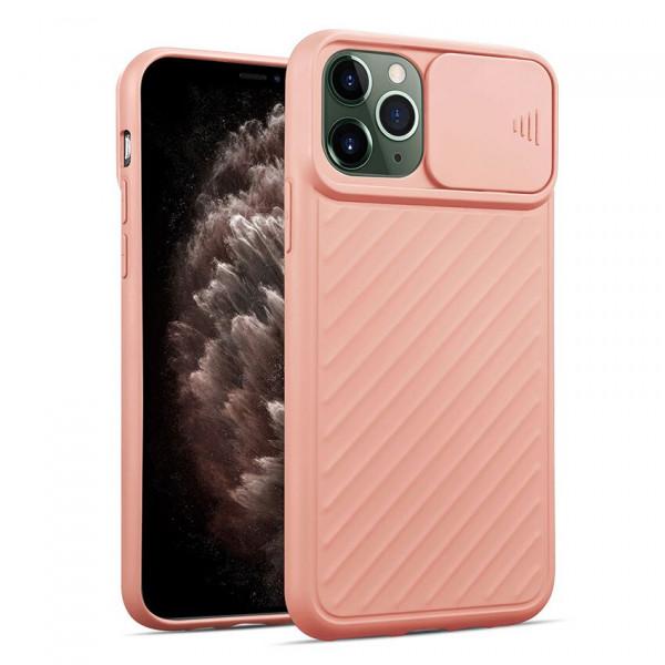 """iPhone 12 (6.1"""") Бампер силиконовый ребристый с защитой камеры (раздвижное окно), розовый"""