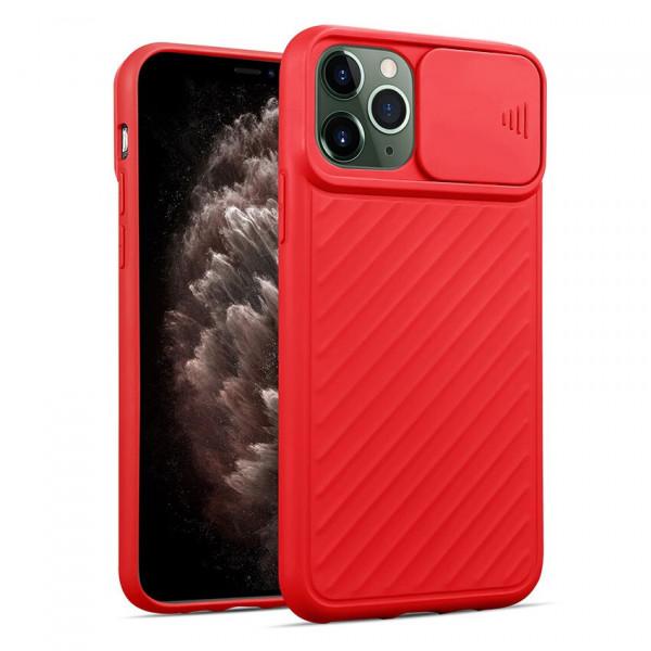 """iPhone 12 (6.7"""") Бампер силиконовый ребристый с защитой камеры (раздвижное окно), красный"""