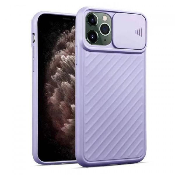 """iPhone 12 (6.1"""") Бампер силиконовый ребристый с защитой камеры (раздвижное окно), светло-фиолетовый"""