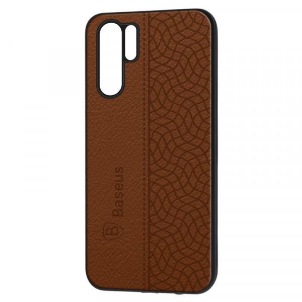 """Huawei Honor P30 Pro Бампер силиконовый """"под кожу"""" Baseus, коричневый"""