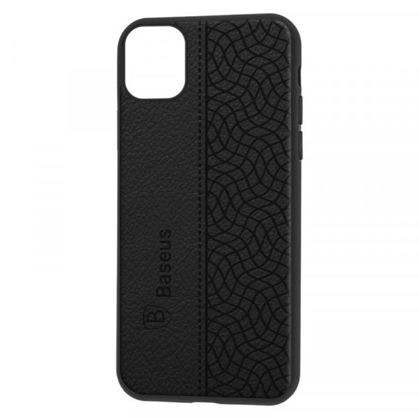 """iPhone 11 Pro Max (6.5"""") Бампер силиконовый """"под кожу"""" Baseus, чёрный"""