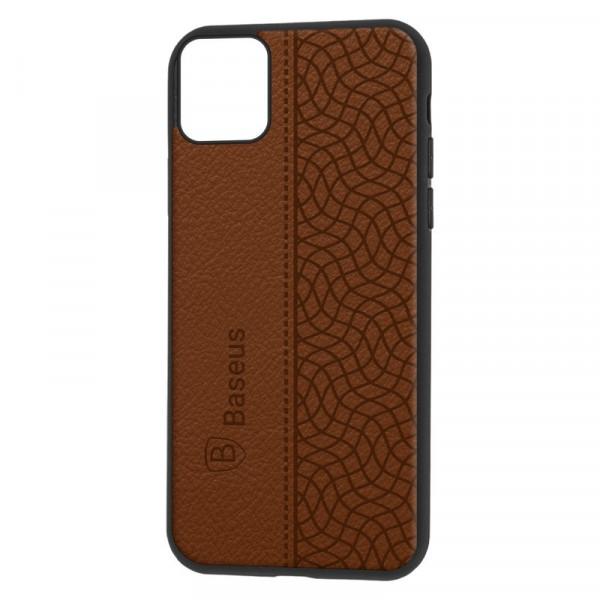 """iPhone 11 Pro (5.8"""") Бампер силиконовый """"под кожу"""" Baseus, коричневый"""