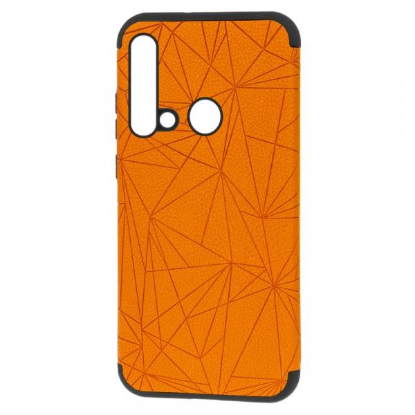 """Huawei Nova 5i Бампер силиконовый под кожу """"полигоны"""", оранжевый (блистер)"""