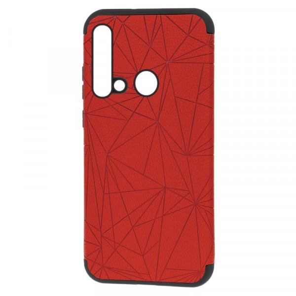"""Huawei Nova 5i Бампер силиконовый под кожу """"полигоны"""", красный (блистер)"""