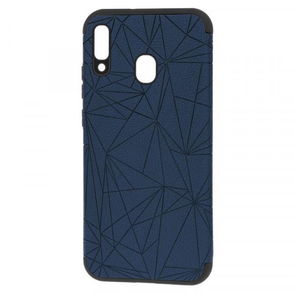 """Samsung A20/A30 Бампер силиконовый под кожу """"полигоны"""", тёмно-синий (блистер)"""