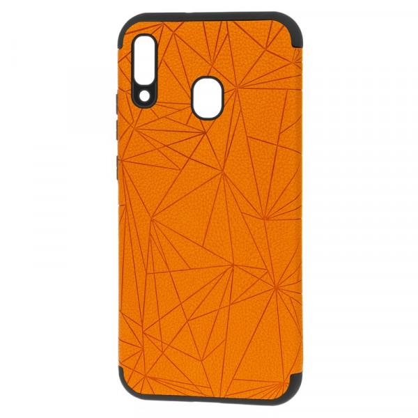 """Samsung A20 Бампер силиконовый под кожу """"полигоны"""", оранжевый (блистер)"""