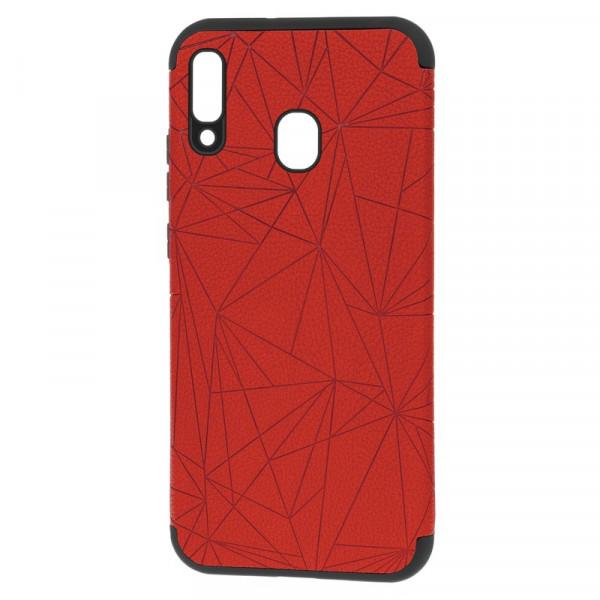 """Samsung A20/A30 Бампер силиконовый под кожу """"полигоны"""", красный (блистер)"""