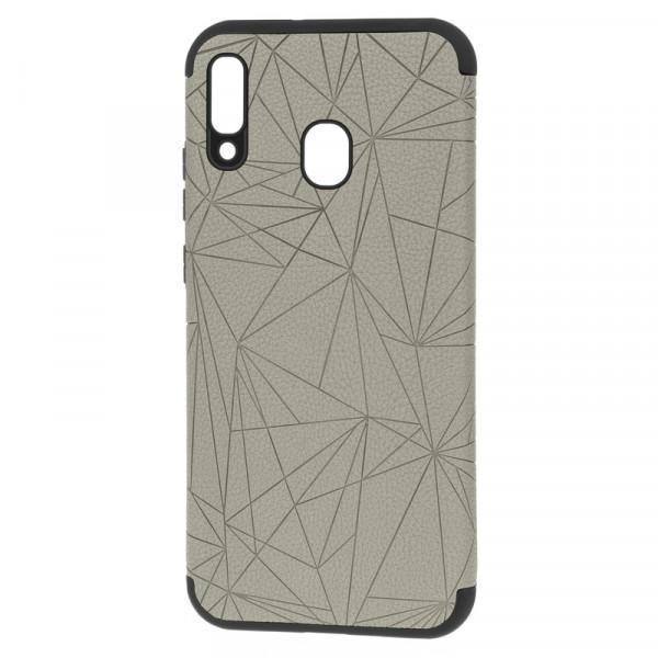 """Samsung A40 Бампер силиконовый под кожу """"полигоны"""", серый (блистер)"""