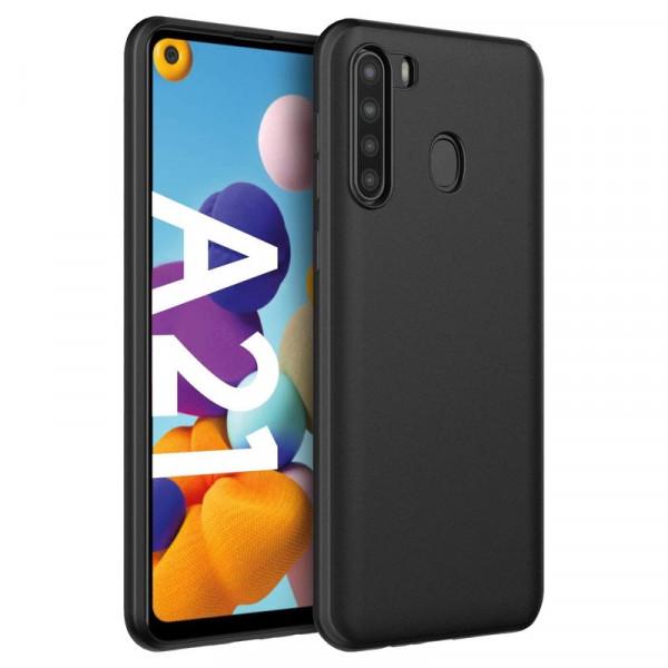 Samsung A21 Бампер силиконовый матовый чёрный