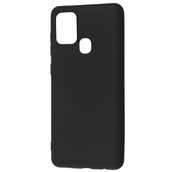 Samsung A21s Бампер силиконовый матовый чёрный