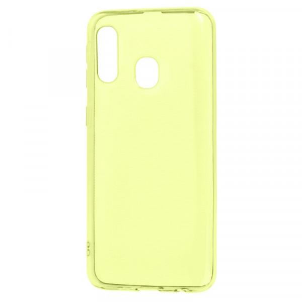 Samsung A40 Бампер силиконовый прозрачный, жёлтый (блистер)