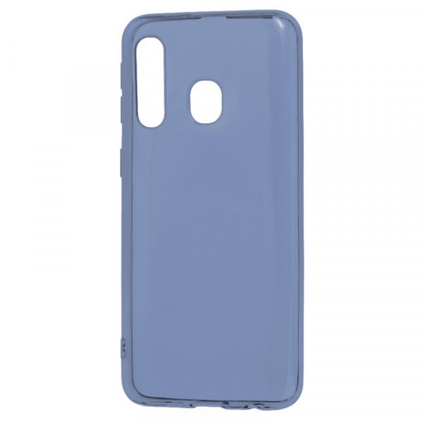 Samsung A60 Бампер силиконовый прозрачный, синий (блистер)
