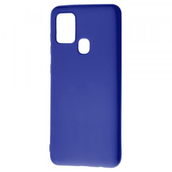 Samsung A21s Бампер силиконовый матовый синий (вид 2)