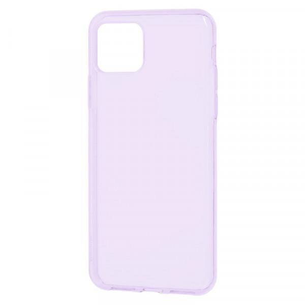 """iPhone 11 Pro Max (6.5"""") Бампер силиконовый прозрачный, сиреневый (блистер)"""