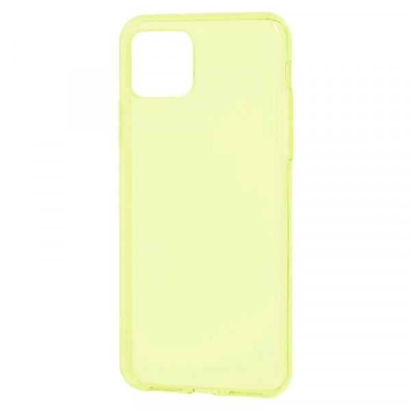 "iPhone 11 Pro Max (6.5"") Бампер силиконовый прозрачный, жёлтый (блистер)"