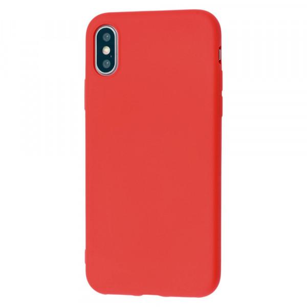 iPhone X Бампер силиконовый матовый красный (вид 2)