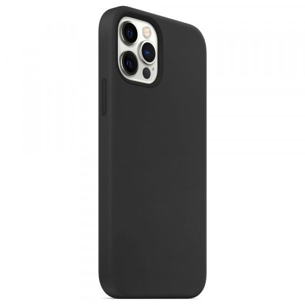 """iPhone 12 (6.7"""") Бампер силиконовый матовый чёрный"""