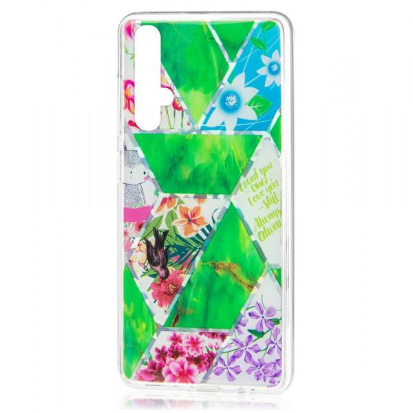 Honor 20 Бампер силиконовый Цветы, зелёный