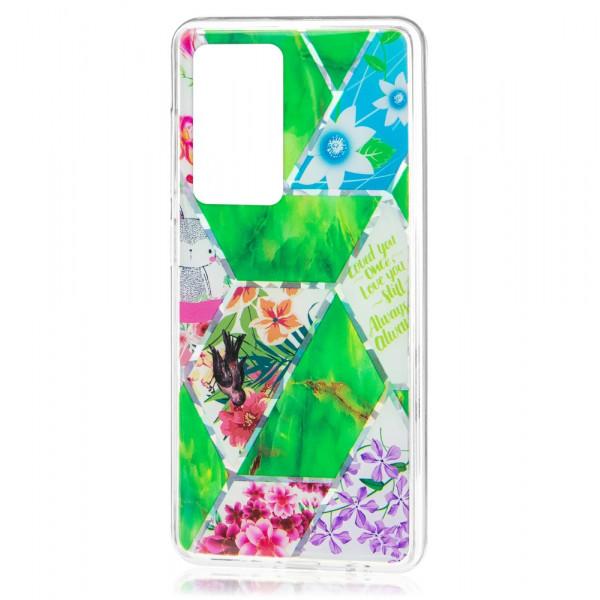 Huawei P40 Бампер силиконовый Цветы, зелёный