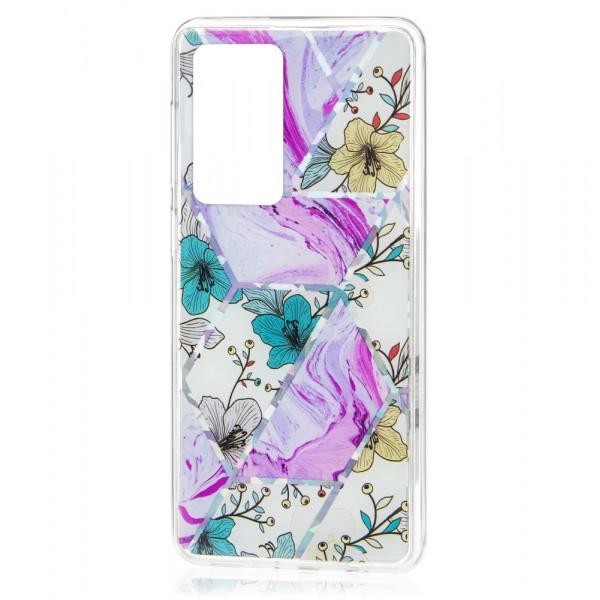 Huawei P40 Бампер силиконовый Цветы, лиловый