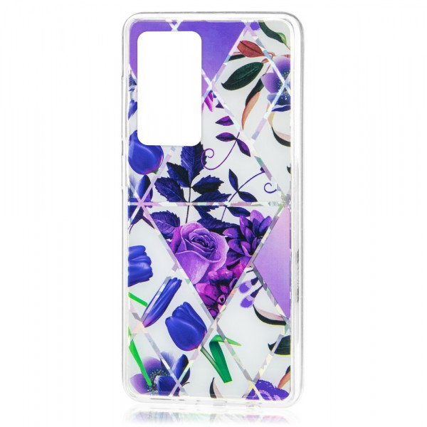 Huawei P40 Бампер силиконовый Цветы, фиолетовый