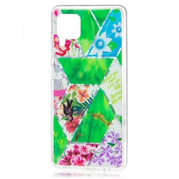 Huawei P40 lite Бампер силиконовый Цветы, зелёный