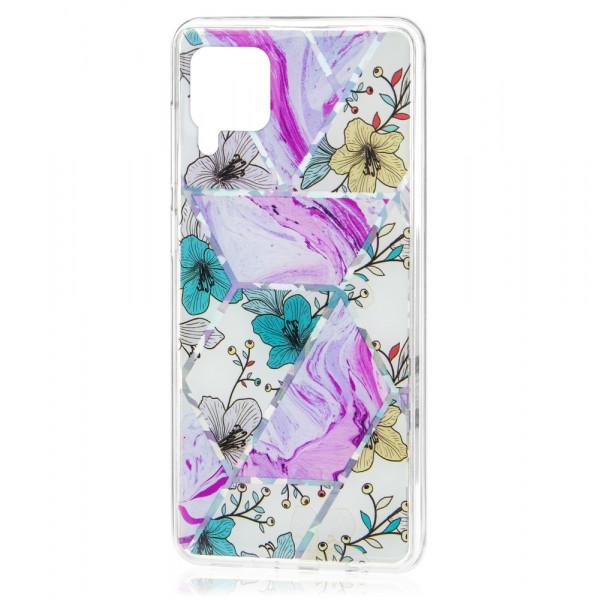 Huawei P40 lite Бампер силиконовый Цветы, лиловый