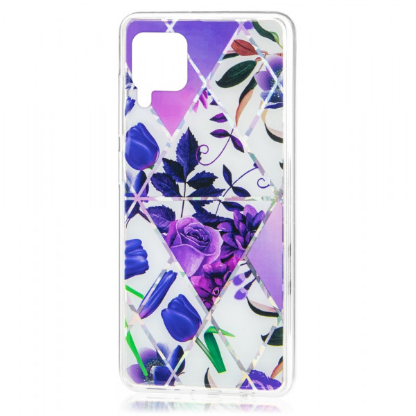Huawei P40 lite Бампер силиконовый Цветы, фиолетовый