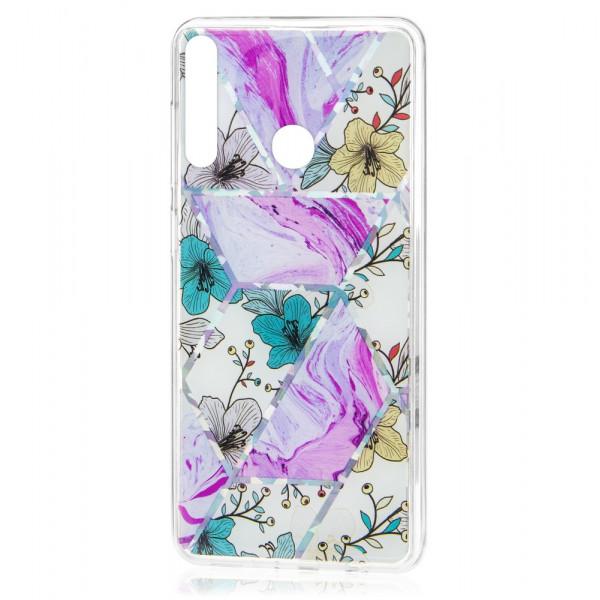 Huawei P40 Lite E Бампер силиконовый Цветы, лиловый