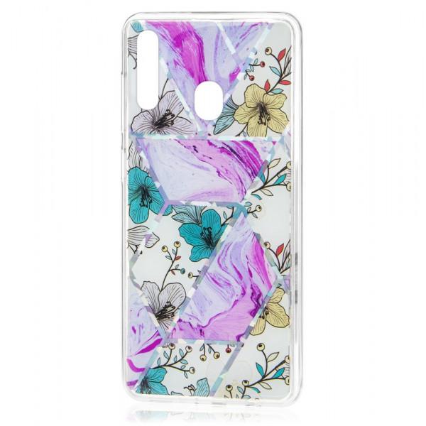 Samsung A20s Бампер силиконовый Цветы, лиловый