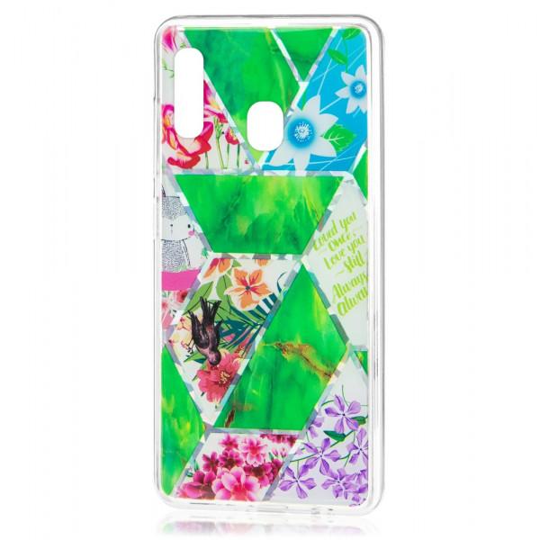 Samsung A30 Бампер силиконовый Цветы, зелёный