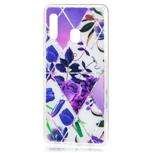 Samsung A30 Бампер силиконовый Цветы, фиолетовый