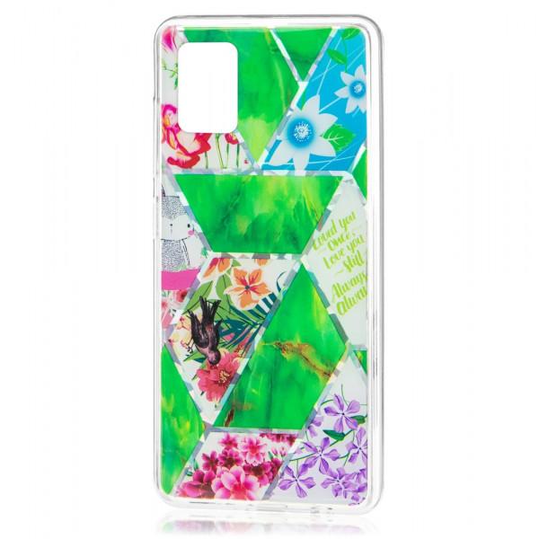 Samsung A71 Бампер силиконовый Цветы, лиловый