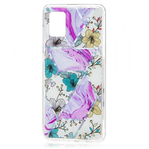 Samsung A41 Бампер силиконовый Цветы, лиловый