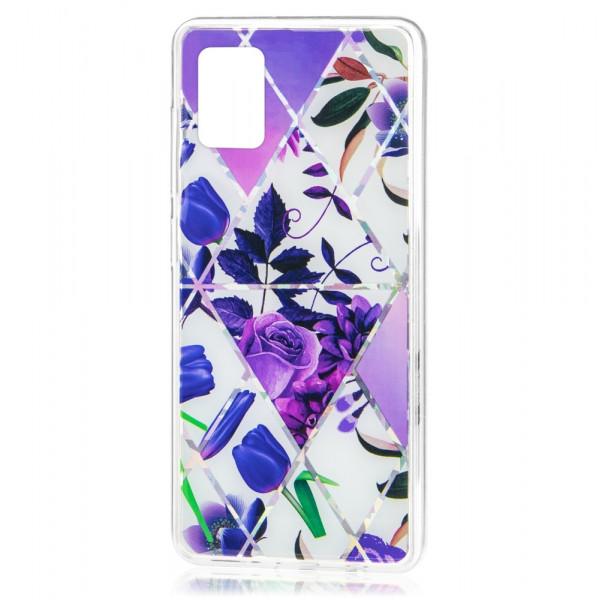 Samsung A71 Бампер силиконовый Цветы, фиолетовый