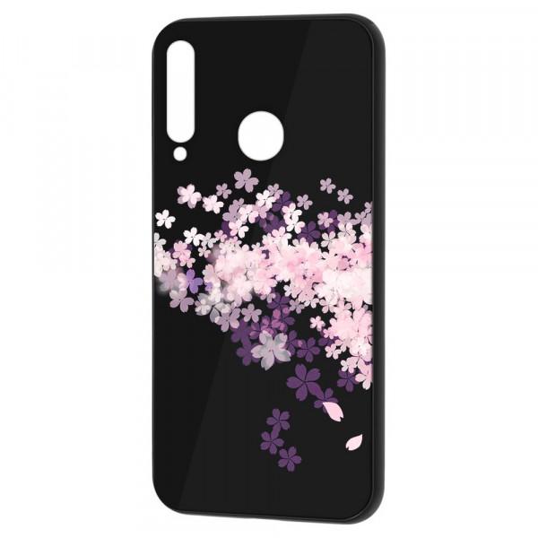 Huawei P40 Lite E Бампер силикон + стекло, Цветы вишни