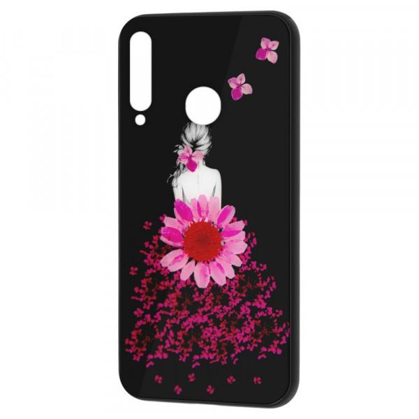 Huawei P40 Lite E Бампер силикон + стекло, Девушка в цветах