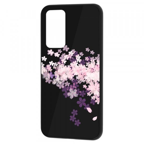 Huawei P40 Бампер силикон + стекло, Цветы вишни