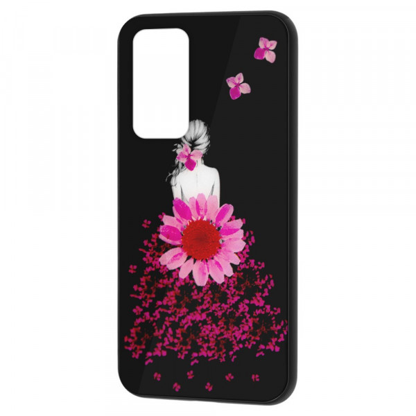 Huawei P40 Бампер силикон + стекло, Девушка в цветах
