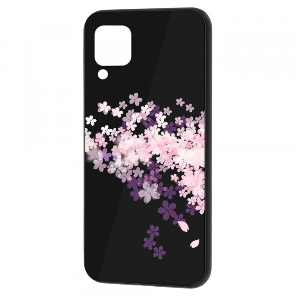 Huawei P40 Lite Бампер силикон + стекло, Цветы вишни
