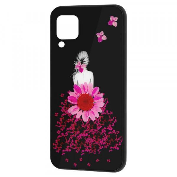 Huawei P40 Lite Бампер силикон + стекло, Девушка в цветах